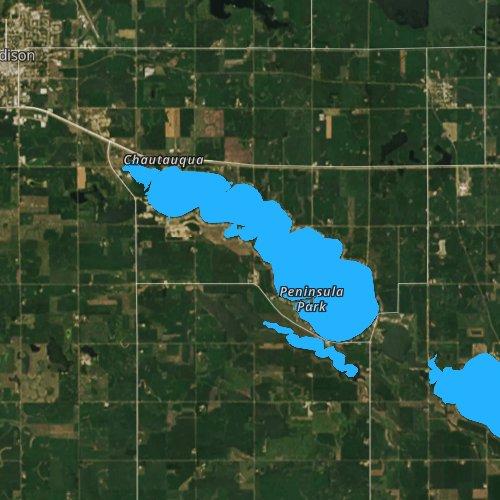 Fly fishing map for Lake Madison, South Dakota