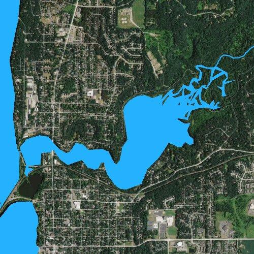 Fly fishing map for Lake Mallalieu 175, Wisconsin