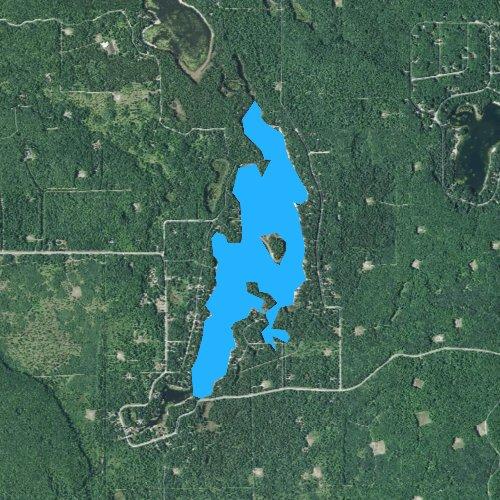 Fly fishing map for Lake Manuka, Michigan