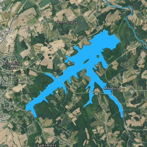 Fly fishing map for Lake Marburg, Pennsylvania