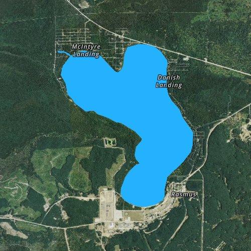 Fly fishing map for Lake Margrethe, Michigan