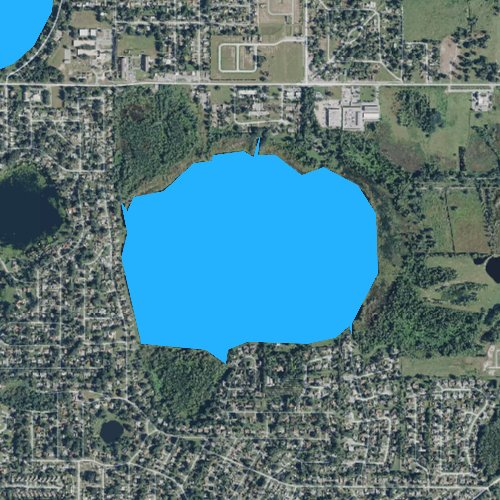 Fly fishing map for Lake Mariam, Florida