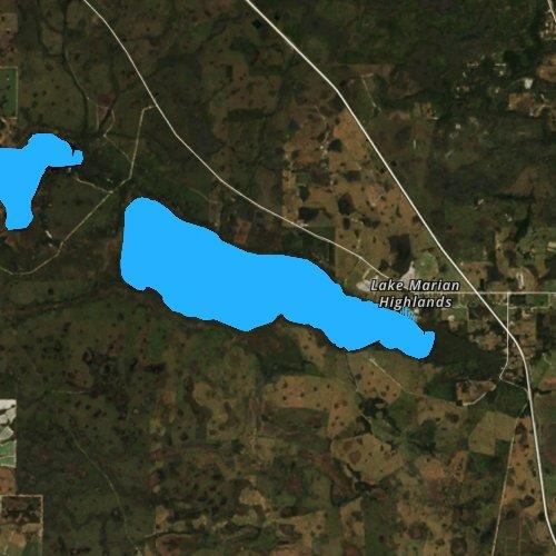 Fly fishing map for Lake Marian, Florida