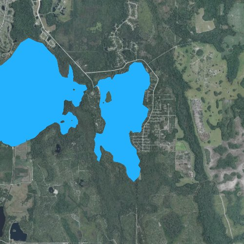Fly fishing map for Lake Mary Jane, Florida