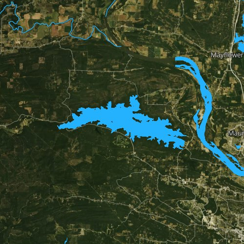 Fly fishing map for Lake Maumelle, Arkansas