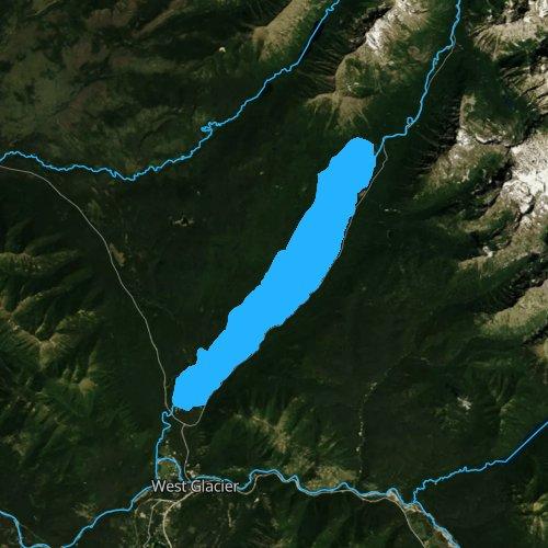 Fly fishing map for Lake McDonald, Montana