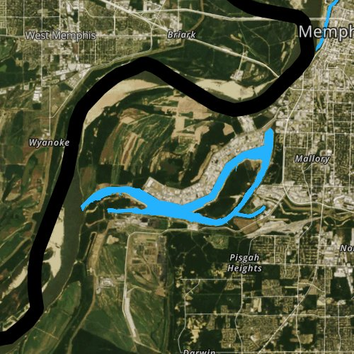 Fly fishing map for Lake McKellar, Tennessee