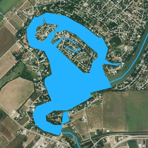 Fly fishing map for Lake McQueeney, Texas
