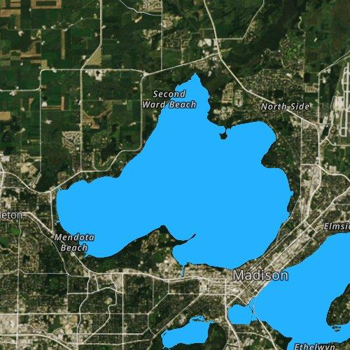 Fly fishing map for Lake Mendota, Wisconsin
