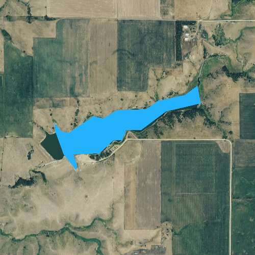 Fly fishing map for Lake Menno, South Dakota