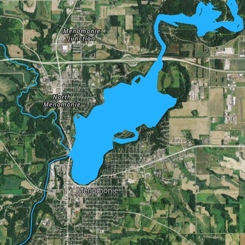 Fly fishing map for Lake Menomin, Wisconsin