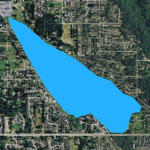 Fly fishing map for Lake Meridian, Washington