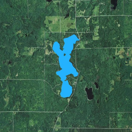 Fly fishing map for Lake Minnesuing, Wisconsin