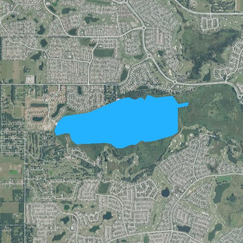 Fly fishing map for Lake Miona, Florida