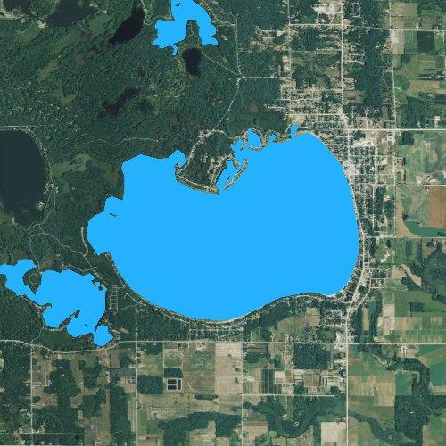 Fly fishing map for Lake Missaukee, Michigan