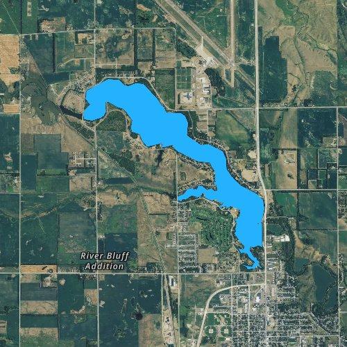 Fly fishing map for Lake Mitchell, South Dakota