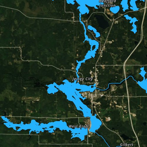 Fly fishing map for Lake Mohawksin, Wisconsin