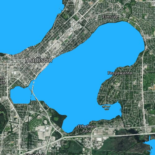 Fly fishing map for Lake Monona, Wisconsin