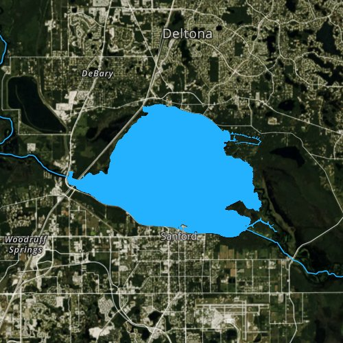 Fly fishing map for Lake Monroe, Florida