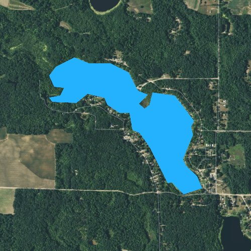 Fly fishing map for Lake Montcalm, Michigan