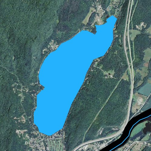 Fly fishing map for Lake Morey, Vermont