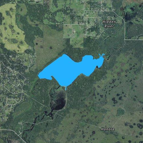 Fly fishing map for Lake Myakka, Florida