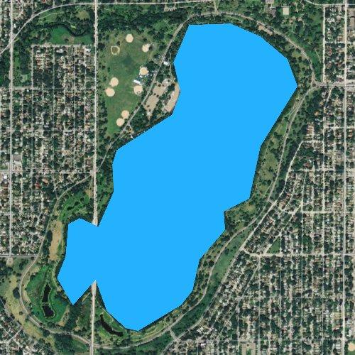 Fly fishing map for Lake Nokomis, Minnesota