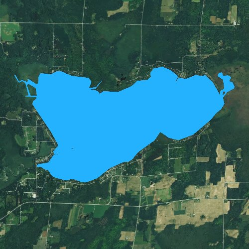 Fly fishing map for Lake Noquebay, Wisconsin