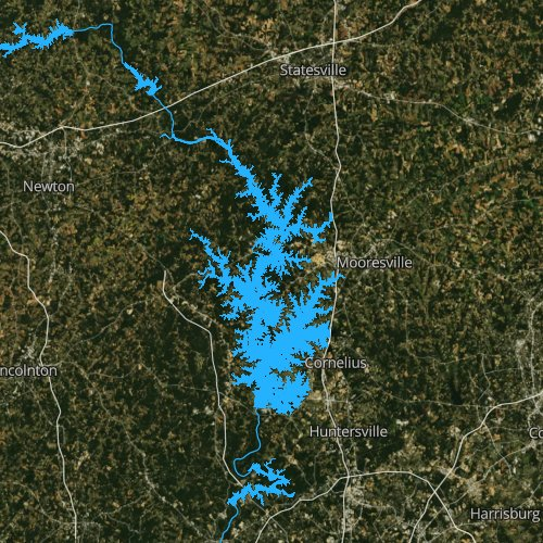 Fly fishing map for Lake Norman, North Carolina