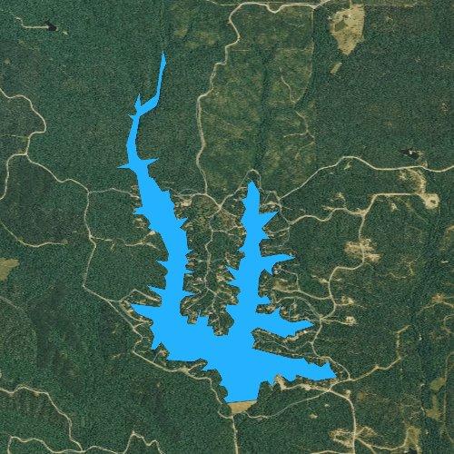 Fly fishing map for Lake Norrell, Arkansas