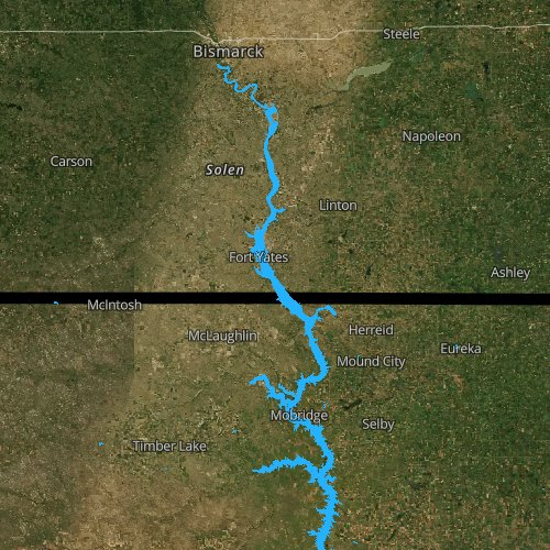 Fly fishing map for Lake Oahe, South Dakota