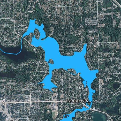Fly fishing map for Lake Oakland, Michigan