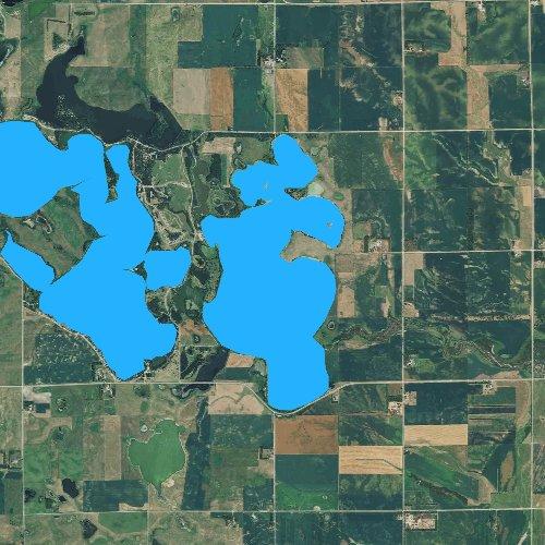 Fly fishing map for Lake Oakwood, South Dakota