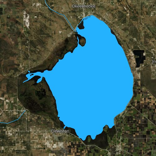 Fly fishing map for Lake Okeechobee, Florida