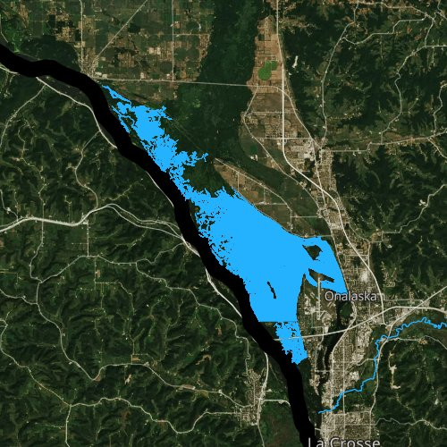 Fly fishing map for Lake Onalaska, Wisconsin