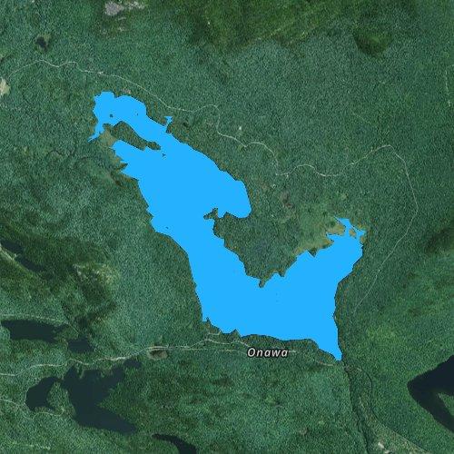 Fly fishing map for Lake Onawa, Maine