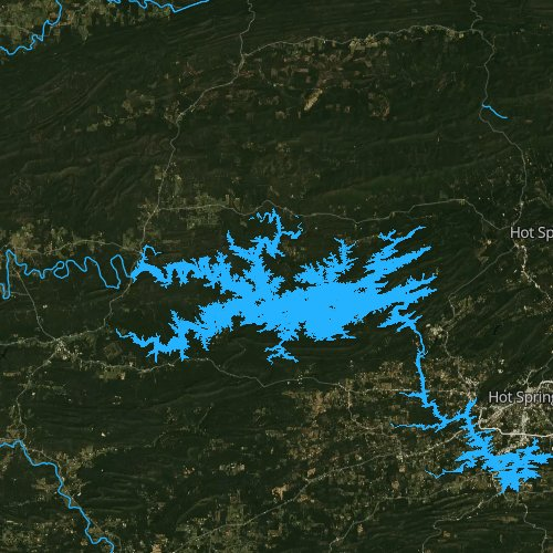 Fly fishing map for Lake Ouachita, Arkansas