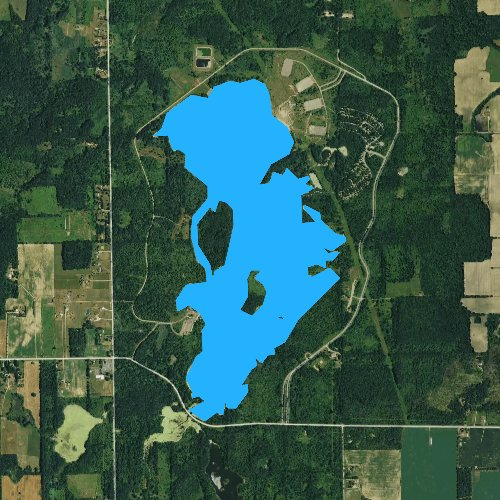 Fly fishing map for Lake Ovid, Michigan