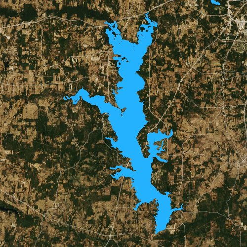 Fly fishing map for Lake Palestine, Texas