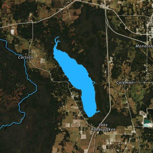 Fly fishing map for Lake Panasoffkee, Florida
