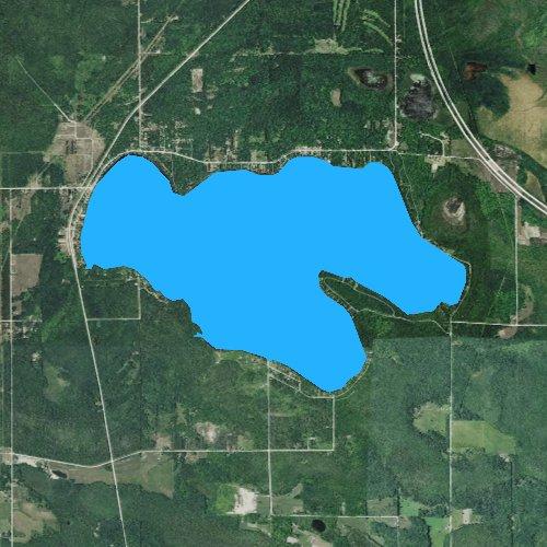 Fly fishing map for Lake Paradise, Michigan