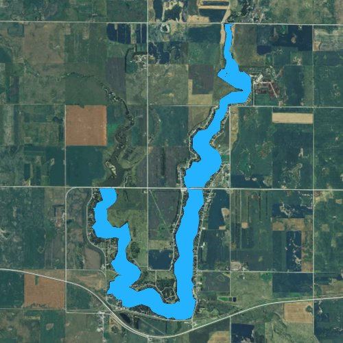 Fly fishing map for Lake Parmley, South Dakota