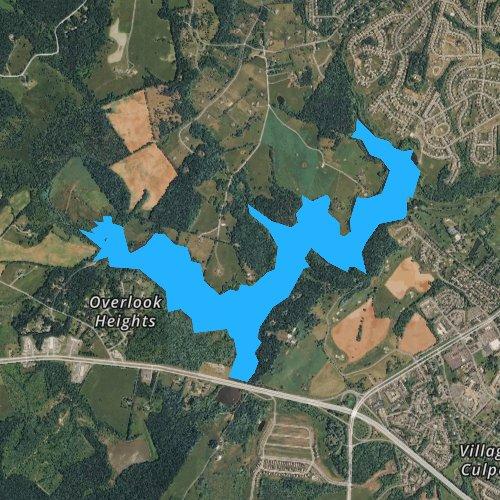 Fly fishing map for Lake Pelham, Virginia