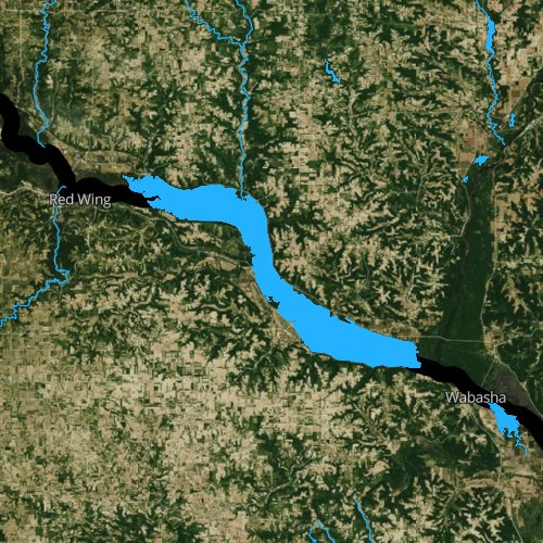 Fly fishing map for Lake Pepin, Wisconsin