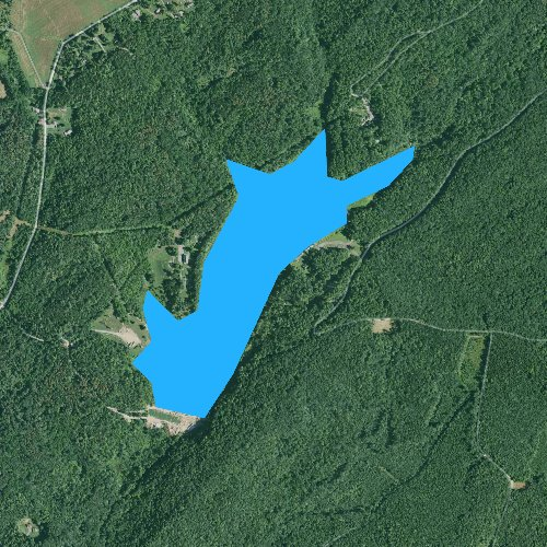 Fly fishing map for Lake Perez, Pennsylvania