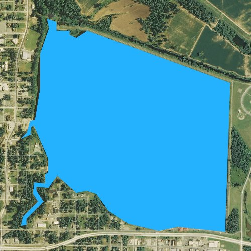 Fly fishing map for Lake Pine Bluff, Arkansas