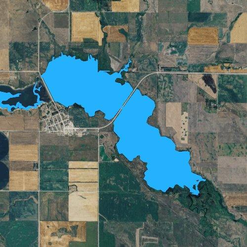 Fly fishing map for Lake Pocasse, South Dakota