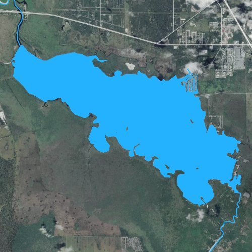 Fly fishing map for Lake Poinsett, Florida