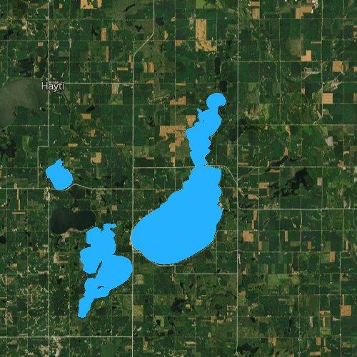 Fly fishing map for Lake Poinsett, South Dakota
