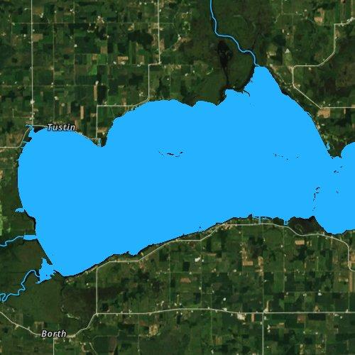 Fly fishing map for Lake Poygan, Wisconsin